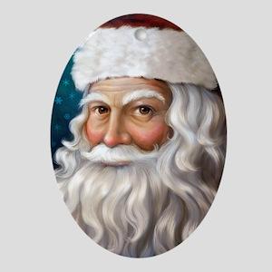 Santa Portrait Oval Ornament