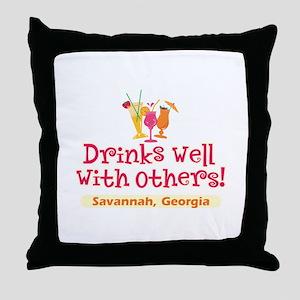 Drinks Well-Savannah, GA- Throw Pillow