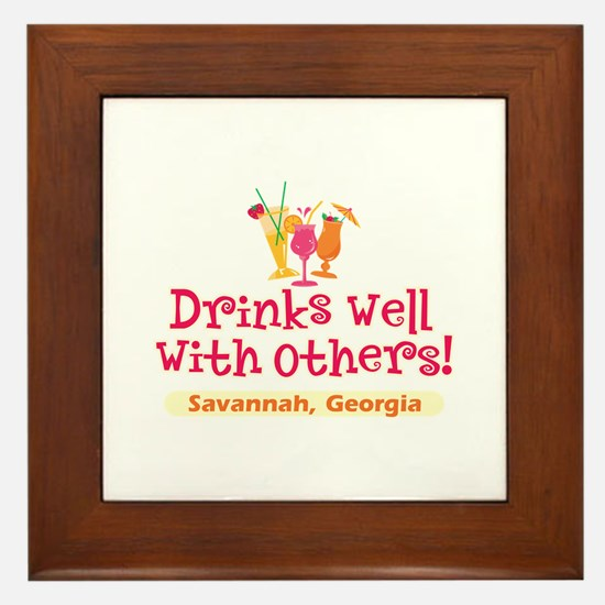 Drinks Well-Savannah, GA- Framed Tile