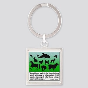Thomas Edison Quote Square Keychain
