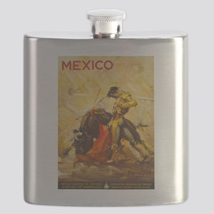 Vintage Mexico Bullfight Travel Flask