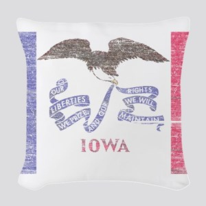 Iowa Vintage State Flag Woven Throw Pillow