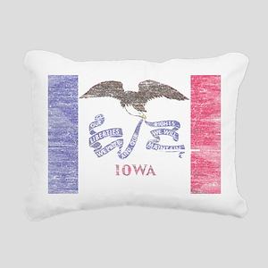 Iowa Vintage State Flag Rectangular Canvas Pillow
