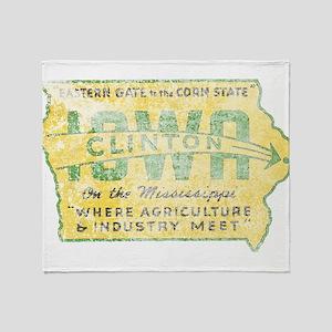 Vintage Clinton Iowa Throw Blanket