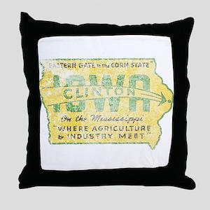 Vintage Clinton Iowa Throw Pillow