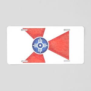 Vintage Wichita Kansas Flag Aluminum License Plate