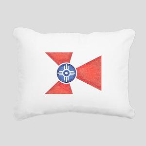 Vintage Wichita Kansas Flag Rectangular Canvas Pil