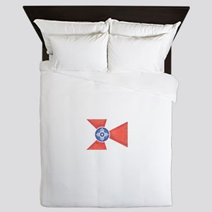 Vintage Wichita Kansas Flag Queen Duvet