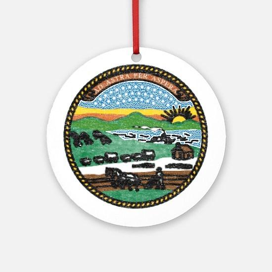 Kansas Vintage State Flag Ornament (Round)