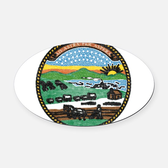 Kansas Vintage State Flag Oval Car Magnet