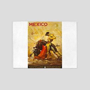 Vintage Mexico Bullfight Travel 5'x7'Area Rug