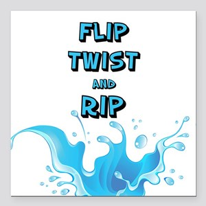 "Flip, Twist and Rip Square Car Magnet 3"" x 3"""