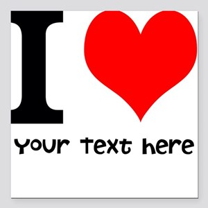 "I Heart (Personalized Text) Square Car Magnet 3"" x"