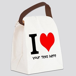 I Heart (Personalized Text) Canvas Lunch Bag