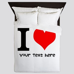 I Heart (Personalized Text) Queen Duvet