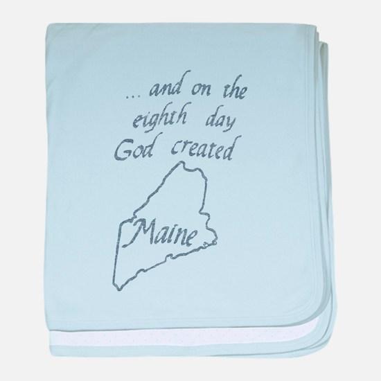 God Created Maine baby blanket