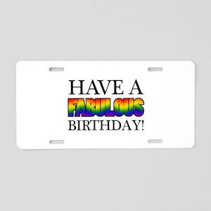 Fabulous Gay Pride Birthday Aluminum License Plate