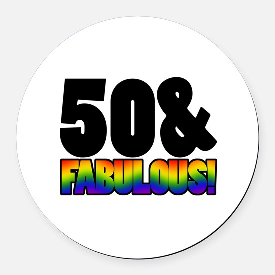 Fabulous Gay 50th Birthday Round Car Magnet