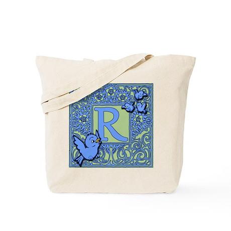 Sweet Tweet Bluebirds Monogram Letter R Tote Bag