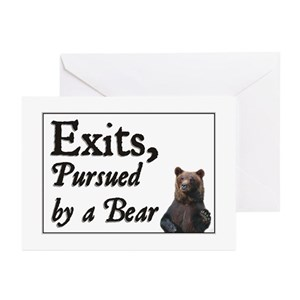 exit pursued by a bear greeting cards cafepress