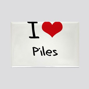 I Love Piles Rectangle Magnet