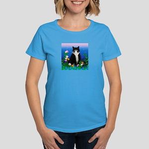 Tuxedo Cat with Flowers Women's Dark T-Shirt