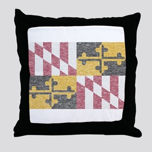 Vintage Maryland Flag Throw Pillow