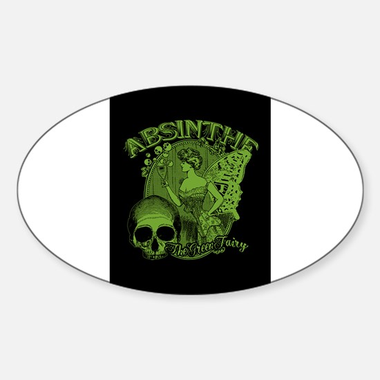 Absinthe Green Fairy Lady Collage Sticker (Oval)