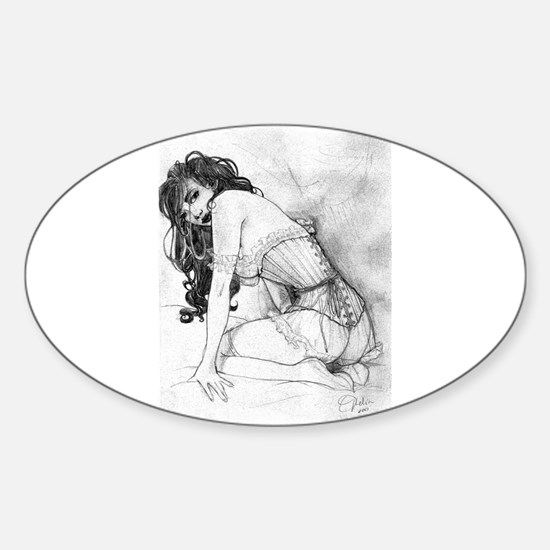 Sultry Woman In Corset Sticker (Oval)