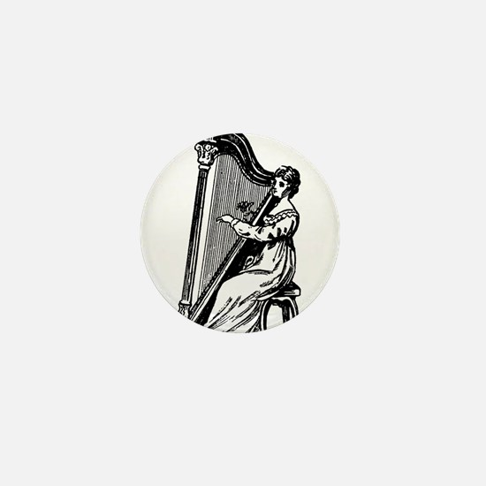 Woman Playing Harp Mini Button