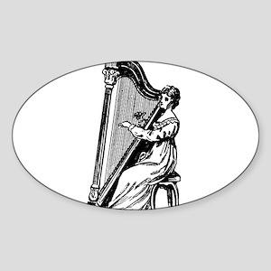 Woman Playing Harp Sticker (Oval)
