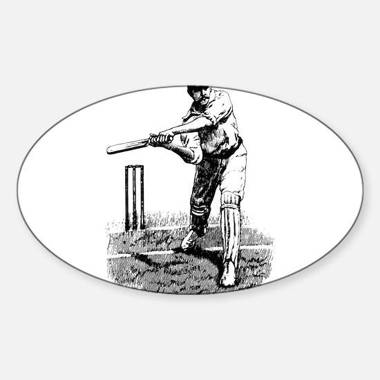 Cricket Player Sticker (Oval)