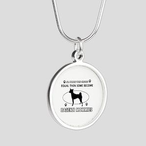 Funny Basenji dog mommy designs Silver Round Neckl