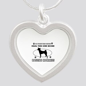 Funny Basenji dog mommy designs Silver Heart Neckl
