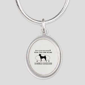 Funny Basenji dog mommy designs Silver Oval Neckla