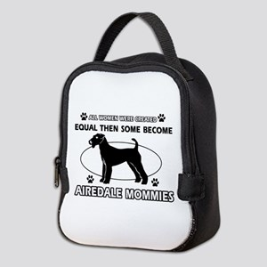 Funny Airdale dog mommy designs Neoprene Lunch Bag