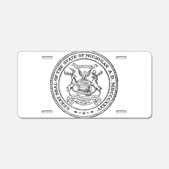 Vintage Michigan State Seal Aluminum License Plate