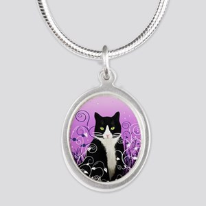 Tuxedo Cat on Lavender Silver Oval Necklace