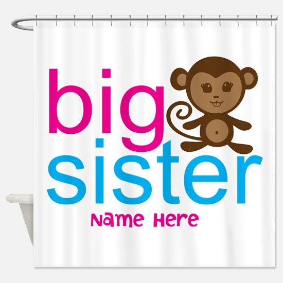 Personalized Big Sister Monkey Shower Curtain