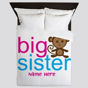 Personalized Big Sister Monkey Queen Duvet