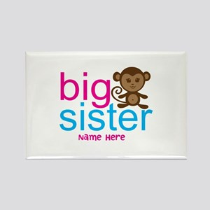 Personalized Big Sister Monkey Rectangle Magnet