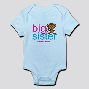 Personalized Big Sister Monkey Infant Bodysuit