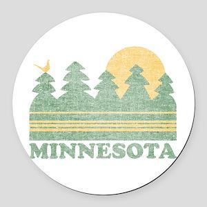 Vintage Minnesota Sunset Round Car Magnet