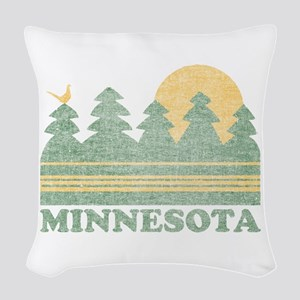 Vintage Minnesota Sunset Woven Throw Pillow