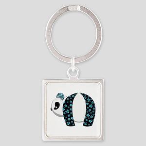 Blue Panda Square Keychain