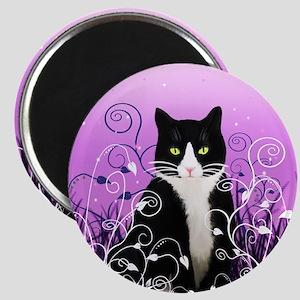 Tuxedo Cat on Lavender Magnet