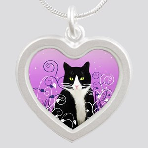 Tuxedo Cat on Lavender Silver Heart Necklace