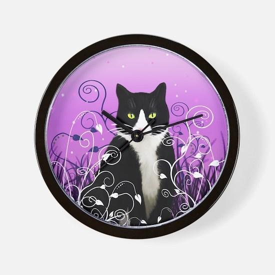 Tuxedo Cat on Lavender Wall Clock