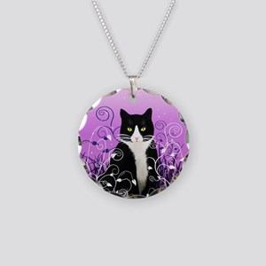 Tuxedo Cat on Lavender Necklace Circle Charm