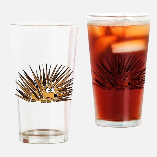 Funky Porcupine Art Drinking Glass